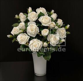 Keinotekoinen kukkakimppu Rose kerma 50 cm