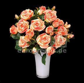 Keinotekoinen kukkakimppu Rose pinkki-aprikoosi 50 cm